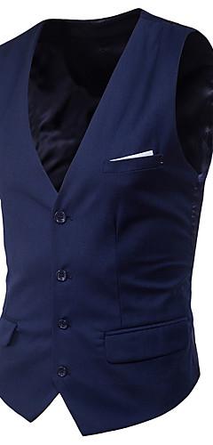 abordables -Homme Col en V gilet Court Couleur Pleine Quotidien Printemps Sans Manches Noir / Violet / Rouge S / M / L