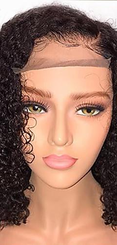 billige -Ekte hår Halvblonder uten lim Blonde Forside Parykk Bobfrisyre stil Brasiliansk hår Krøllet Parykk 130% Hair Tetthet med baby hår Naturlig hårlinje Afroamerikansk parykk 100% Jomfru ubehandlet Dame
