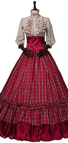 voordelige -Victoriaans Renaissance Kostuum Dames Outfits Rood + Golden Vintage Cosplay 50% katoen / 50% polyester 3/4 mouw Pof / ballon