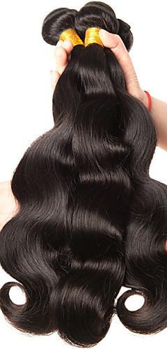 billige -3 pakker Hårvever Brasiliansk hår Krop Bølge Hairextensions med menneskehår Remy Menneskehår 100% Remy Hair Weave Bundles 300 g Menneskehår Vevet Hairextensions med menneskehår 8-28 tommers Naturlig