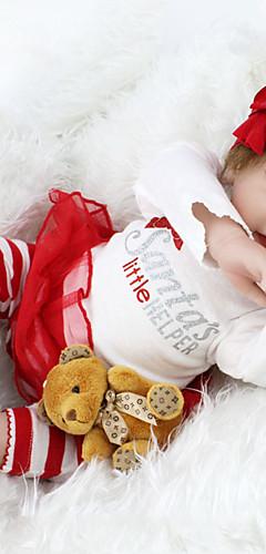 Недорогие -OtardDolls 22 дюймовый Куклы реборн Дети Reborn Baby Doll как живой Милый стиль Ручная работа Безопасно для детей Non Toxic Ткань 3/4 Силиконовые конечности и заполненный хлопком корпус 55cm / CE