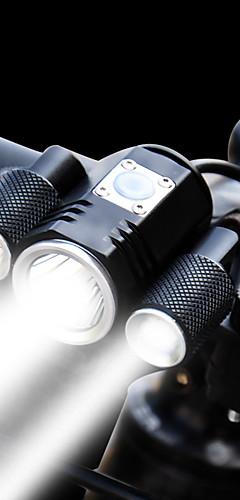 رخيصةأون -اضواء الدراجة ضوء الدراجة الأمامي مصابيح الدراجة LED الدراجة ركوب الدراجة ضد الماء وسائط متعددة سطوع رائع قابل للتعديل 1900 lm قابلة لإعادة الشحن 18650 أبيض أخضر / معدن الألمنيوم / زاوية واسعة