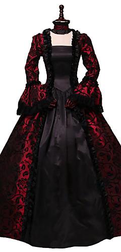 povoljno -Rococo Viktoriánus 18. stoljeće Haljine Čipka Kostim Crna / crvena Vintage Cosplay Party Prom Dugih rukava Krinolina