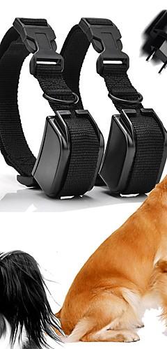 رخيصةأون -كلاب النباح الياقة ياقات تدريب الكلاب مقاوم للماء قابلة لإعادة الشحن البلاستيك نايلون أسود 2 قطعتين