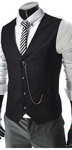 abordables -Homme gilet Normal Couleur Pleine Quotidien Travail Printemps Automne Sans Manches Blanche / Noir / Rouge M / L / XL / Vêtement décontracté