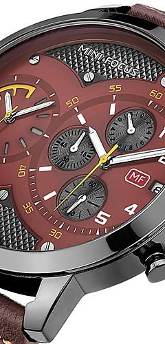 ราคาถูก -สำหรับผู้ชาย นาฬิกาตกแต่งข้อมือ ที่มีขนาดใหญ่ หนังแท้ ดำ / ฟ้า / น้ำตาล 30 m โครโนกราฟ เท่ห์ Punk ระบบอนาล็อก ความหรูหรา คลาสสิก - สีดำ กาแฟ สีฟ้า / สีดำ สองปี อายุการใช้งานแบตเตอรี่