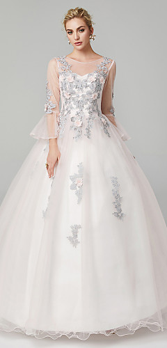 cheap -Ball Gown Elegant Floral Quinceanera Formal Evening Dress Illusion Neck Long Sleeve Floor Length Tulle Floral Lace with Appliques 2020