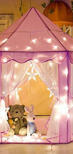 رخيصةأون -لعب الخيام والأنفاق بيت اللعب قصر أميرة داخلي قابل للطي يضوي ليلاً ضوء LED قماش مسرح منزلي داخلي وخارجي للأولاد والبنات / للأطفال
