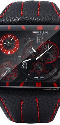 ราคาถูก -SHI WEI BAO สำหรับผู้ชาย นาฬิกาแนวสปอร์ต นาฬิกาทหาร ญี่ปุ่น นาฬิกาอิเล็กทรอนิกส์ (Quartz) หนัง ดำ / น้ำตาล แสดงสองเวลา ระบบอนาล็อก ไม่เป็นทางการ แฟชั่น - กาแฟ แดง ฟ้า หนึ่งปี อายุการใช้งานแบตเตอรี่