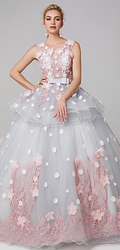 cheap -Ball Gown Peplum Blue Quinceanera Formal Evening Dress Jewel Neck Sleeveless Floor Length Lace Over Tulle with Bow(s) Pattern / Print Appliques 2020