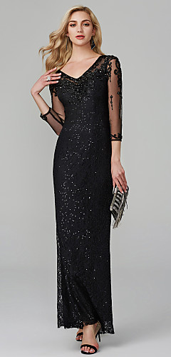 cheap -Mermaid / Trumpet Elegant & Luxurious Sparkle & Shine See Through Formal Evening Wedding Party Dress V Neck 3/4 Length Sleeve Floor Length Lace Sequined with Beading 2020 / Illusion Sleeve