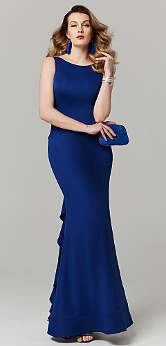 cheap -Sheath / Column Prom Formal Evening Dress Bateau Neck Boat Neck Sleeveless Floor Length Spandex with Beading Ruffles 2020
