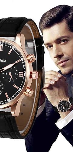 ราคาถูก -สำหรับผู้ชาย นาฬิกาข้อมือ สายการบิน นาฬิกาอิเล็กทรอนิกส์ (Quartz) หนัง ดำ / น้ำตาล โครโนกราฟ นาฬิกาใส่ลำลอง ระบบอนาล็อก กำไล ที่เรียบง่าย - สีดำ สีน้ำตาล หนึ่งปี อายุการใช้งานแบตเตอรี่