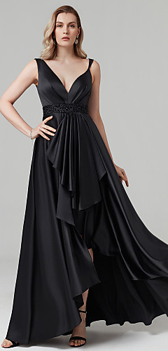 cheap -A-Line Celebrity Style High Low Prom Formal Evening Dress Plunging Neck Sleeveless Asymmetrical Satin with Sash / Ribbon Beading 2020