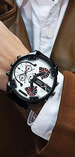 ราคาถูก -สำหรับผู้ชาย นาฬิกาข้อมือ หนัง ดำ / ฟ้า / กากี 30 m ปฏิทิน แสดงสองเวลา เท่ห์ ระบบอนาล็อก ความหรูหรา ไม่เป็นทางการ - สีกากี ดำ / ขาว Black / Rose Gold หนึ่งปี อายุการใช้งานแบตเตอรี่ / สแตนเลส