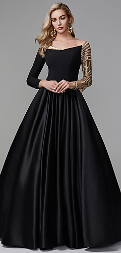 cheap -Ball Gown Sparkle Black Quinceanera Formal Evening Dress Off Shoulder Long Sleeve Floor Length Satin Sequined with Sequin 2020