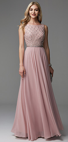 cheap -A-Line Open Back Pastel Colors Beaded & Sequin Prom Formal Evening Dress Boat Neck Sleeveless Floor Length Chiffon with Beading 2020