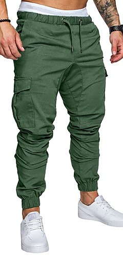 abordables -Homme Basique Grandes Tailles Quotidien Joggings Pantalon cargo Pantalon Couleur Pleine Cordon Printemps Automne Noir Kaki Vert M L XL
