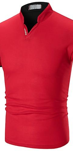 abordables -Homme Polo Couleur Pleine Patchwork Manches Courtes Hauts Coton Basique Col en V Blanche Noir Rouge / Eté