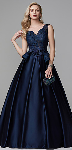 cheap -Ball Gown Peplum Blue Quinceanera Formal Evening Dress V Neck Sleeveless Floor Length Lace Satin with Bow(s) Beading 2020