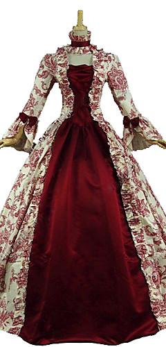 abordables -Marie-Antoinette Rococo Victoriens Epoque Médiévale Renaissance 18ème siècle Robe Robe de Soirée Femme Costume Rouge / Olive Vintage Cosplay Soirée Fête scolaire Manches 3/4 Longueur Sol Long Robe de