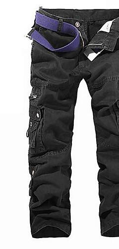 abordables -Homme Basique Quotidien Sports Chino Pantalon cargo Pantalon Couleur Pleine Noir Vert Véronèse Kaki 28 29 30
