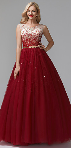 cheap -Ball Gown Chinese Style Sparkle & Shine Beaded & Sequin Formal Evening Dress Jewel Neck Sleeveless Floor Length Tulle with Beading Sequin 2020