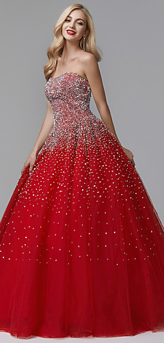 cheap -Ball Gown Luxurious Quinceanera Formal Evening Dress Strapless Sleeveless Floor Length Satin Tulle with Crystals 2020