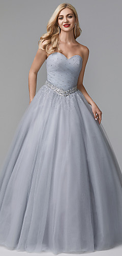 cheap -Ball Gown Luxurious Quinceanera Formal Evening Dress Sweetheart Neckline Sleeveless Floor Length Tulle Stretch Satin with Crystals Beading 2020