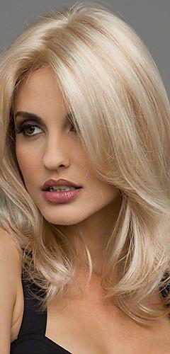 billige -Syntetiske parykker Bølget Bølget Parykk Blond Medium Lengde Svart Brun Blond Burgunder Syntetisk hår 20 tommers Dame Varme resistent Midtskill Blond