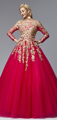 cheap -Ball Gown Chinese Style Vintage Inspired Formal Evening Dress Jewel Neck Long Sleeve Court Train Lace Tulle with Pearls Beading Appliques 2020