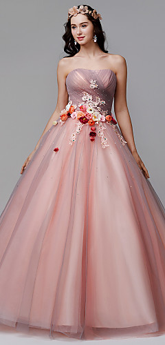 cheap -Ball Gown Floral Formal Evening Dress Strapless Sleeveless Floor Length Tulle with Pleats Flower 2020