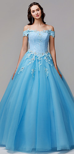 cheap -Ball Gown Vintage Inspired Formal Evening Dress Off Shoulder Sleeveless Floor Length Lace Tulle with Crystals Appliques 2020