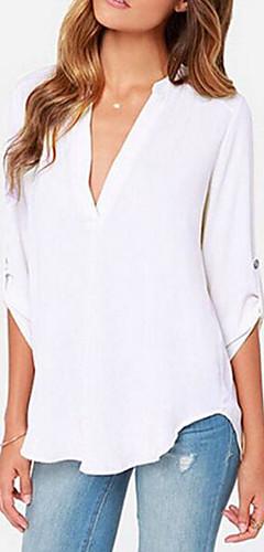 ราคาถูก -สำหรับผู้หญิง เสื้อสตรี คอวีลึก สีพื้น สีเทา