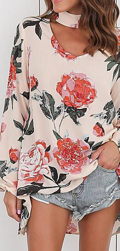 billige -Bomull Puffermer Løstsittende Skjortekrage Bluse Dame - Ensfarget / Geometrisk, Dusk Vintage Svart & Rød Svart / Blomstret