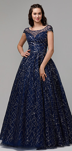 cheap -Ball Gown Sparkle Blue Quinceanera Prom Dress Illusion Neck Short Sleeve Floor Length Tulle Sequined with Crystals Sequin 2020