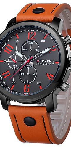 ราคาถูก -CURREN สำหรับผู้ชาย นาฬิกาตกแต่งข้อมือ นาฬิกาสร้อยข้อมือ สายการบิน นาฬิกาอิเล็กทรอนิกส์ (Quartz) หนังแท้ ดำ / ฟ้า / น้ำตาล กันน้ำ ปฏิทิน ดีไซน์มาใหม่ ระบบอนาล็อก คลาสสิก ไม่เป็นทางการ แฟชั่น Aristo -