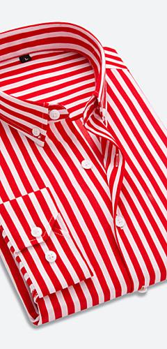 abordables -Homme Chemise Rayé Patchwork Manches Longues Hauts Business Basique Boutonné Sous Patte Blanche Rouge Bleu Marine / Travail
