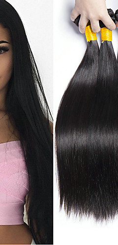 billige -4 pakker Hårvever Brasiliansk hår Rett Hairextensions med menneskehår Remy Menneskehår 100% Remy Hair Weave Bundles 400 g Menneskehår Vevet Hairextensions med menneskehår 8-28 tommers Naturlig Farge