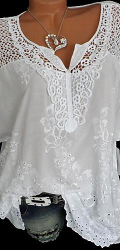 ราคาถูก -สำหรับผู้หญิง เสื้อสตรี ลูกไม้ คอวี หลวม สีพื้น สีดำ / ฤดูร้อน