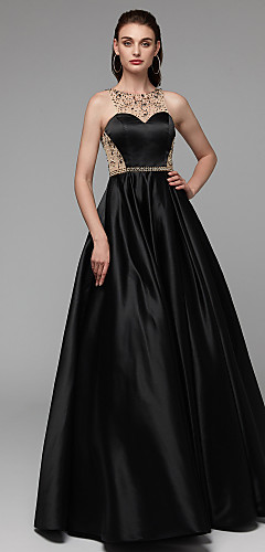 cheap -Ball Gown Elegant Beautiful Back Beaded & Sequin Prom Formal Evening Dress Illusion Neck Sleeveless Floor Length Satin with Beading Sequin 2020