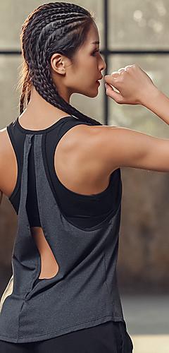 ราคาถูก -สำหรับผู้หญิง Yoga Built in Bra Tank Open Back 2 ใน 1 แฟชั่น สีเทา วิ่ง การออกกำลังกาย ยิมออกกำลังกาย เสื้อกล้าม เสื้อไม่มีแขน กีฬา ชุดทำงาน Lightweight ระบายอากาศ High Impact Moisture Wicking / ยืด