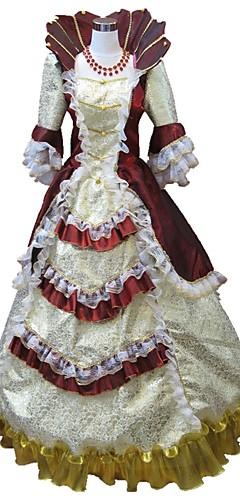 povoljno -Princeza Rococo Renesansa 18. stoljeće Haljine Kostim za party Povorka maski Krinolina Žene Kostim Crn / Red and White / Red+Golden Vintage Cosplay Party Prom Rukava do lakta Do poda Dugi Duljina