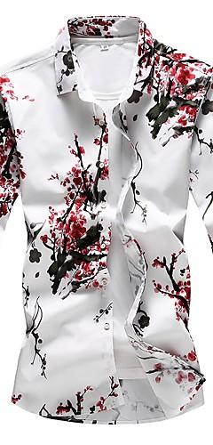 abordables -Homme Grandes Tailles Chemise Fleurie Imprimé Manches Longues Mince Hauts Basique Rouge