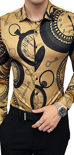 abordables -Homme Chemise Géométrique Manches Longues Mince Hauts Luxe Rétro Vintage Col Classique Noir Dorée / Soirée / Automne / Travail