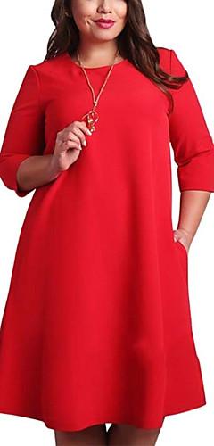 ราคาถูก -สำหรับผู้หญิง ขนาดพิเศษ พื้นฐาน Shift แต่งตัว สีพื้น ยาวถึงเข่า Red