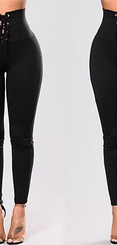ราคาถูก -สำหรับผู้หญิง สูงกว่าปกติ รองเท้าผูกเชือก กางเกงโยคะ สีทึบ สแปนเด็กซ์ Zumba วิ่ง เต้นรำ เลกกิ้ง ชุดทำงาน Push Up Tummy Control Power Flex ยืดแบบ 4 Way ยืด เพรียวบาง