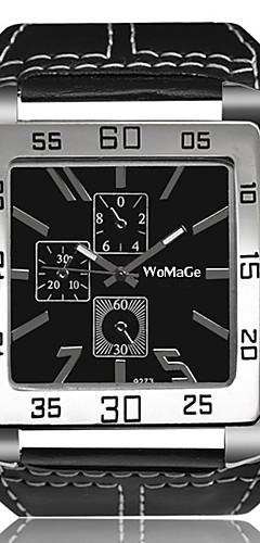 ราคาถูก -สำหรับผู้ชาย นาฬิกาข้อมือ นาฬิกาอิเล็กทรอนิกส์ (Quartz) ที่มีขนาดใหญ่ หนัง ดำ / สีขาว / น้ำตาล Creative นาฬิกาใส่ลำลอง เท่ห์ ระบบอนาล็อก วินเทจ กำไล - ขาว สีดำ สีน้ำตาล หนึ่งปี อายุการใช้งานแบตเตอรี่