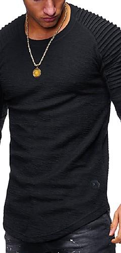 abordables -Homme Tee-shirt Graphique Couleur Pleine Manches Longues Hauts Basique Col Arrondi Blanche Noir Vert Véronèse
