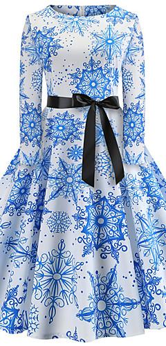 abordables -Audrey Hepburn Rétro Vintage Robe Femme Spandex Costume blanc + bleu. / Noir & Blanc / Vert / noir. Vintage Cosplay Noël